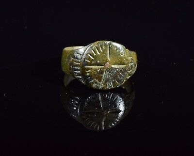 Medieval Period Bronze Ring With Cross Motif On Bezel - T67