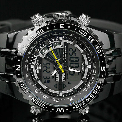 Infantry Mens Digital Quartz Wrist Watch Chronograph Army Sports Black Military