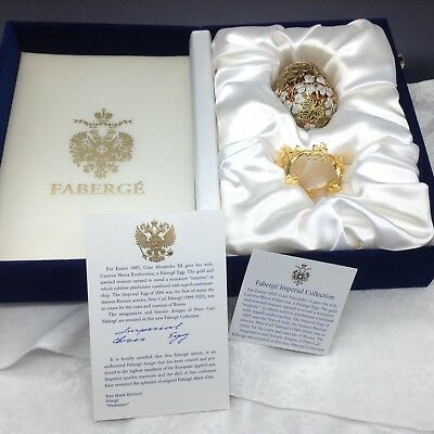Faberge Imperial Clover Egg with Gold Stand Brooch Pin Original Box COA 24K Gold