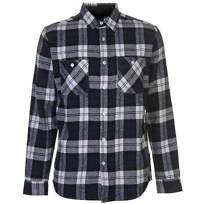 Pierre Cardin Mens Long Sleeve Flannel Shirt Regular Fit Chest Pocket Fold Down