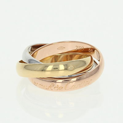 Cartier Trinity Rolling Ring - 18k Yellow, White, & Rose Gold Size 50 US 5 1/4