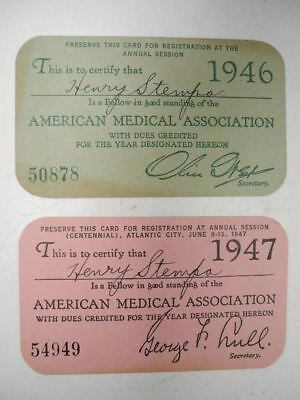 1946 & 1947 Membership Card from the American Medical Association Henry Stempa