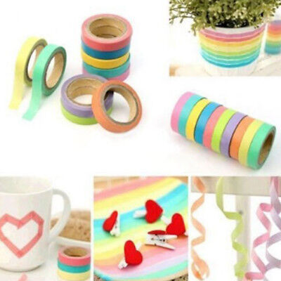 10 Roll Creative Colorful Writable Rainbow Shredded Japanese And Paper Hand Tape