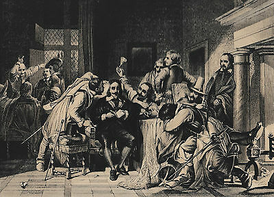 1880 Antique Engraving- King Charles I Insulted by Cromwell Soldiers - Delaroche