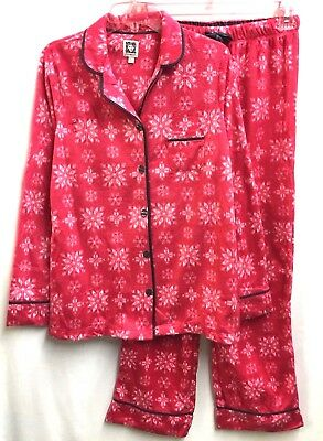 Anne Klein AK Womens Long Sleeve Fleece Pajama PJ Set S (6-8) Red Snowflake NEW