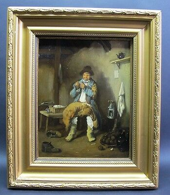 Fine Original SCOTTISH Oil Painting on Board  ERSKINE NICOL  c. 1870s  antique