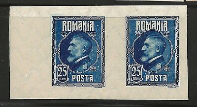 Romania; 1926, 25 Bani Blue Color Proof pair on watermarked paper, OG/LH, SUPERB
