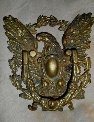 "Vintage 9"" Large ORNATE Solid Brass American Bald Eagle Door Knocker ESTATE FIND"