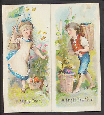c11512 victorian folding new year card children flowers inside