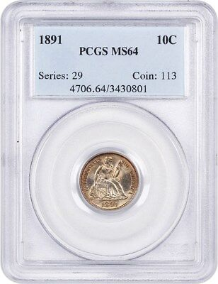 1891 10c PCGS MS64 - Nice Type Coin - Liberty Seated Dime - Nice Type Coin