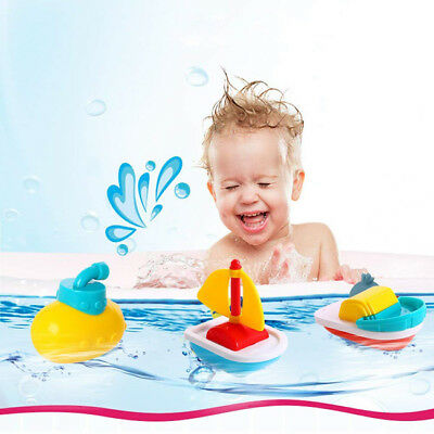 4pcs Kids Play Toy Tub Rubber Boats Toys Baby Bath Bathroom Gift Float Water Z