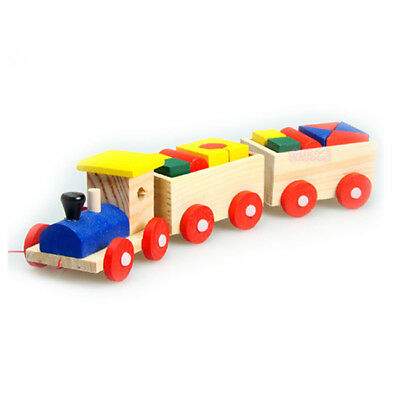 Wooden Geometric Blocks Train Building Stacking Set Toy Assembly Pull Along Z