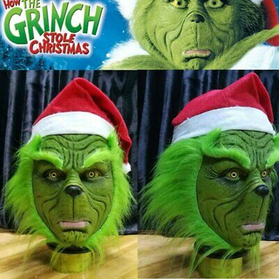 Grinch Stola Weihnachtsmütze Maske Latexhelm langes Haar Party Requisiten
