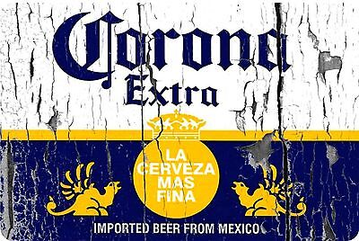 "Corona Extra beer label vintage look Reproduction Metal Sign 8"" X 12"" Aluminum"