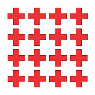 16 - RED CROSS ON WHITE BACKGROUND Window Bumper Laptop Helmet Sticker HS-998