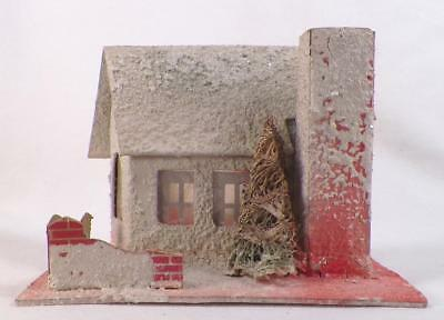 Vintage Christmas House Train Yard Putz Display Cream Pink Cardboard Tree #111