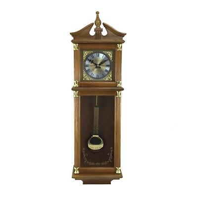 Bedford Clock Collection 34.5 in. Antique Chiming Wall Clock with Numerals Oak