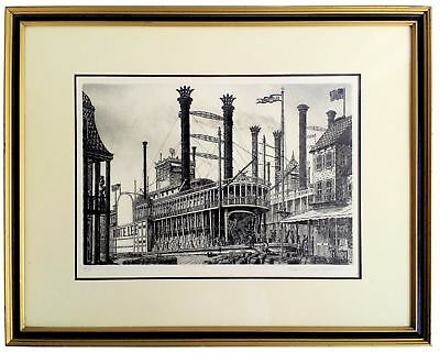 Alan Jay Gaines Robert E Lee Hand Signed Etching Matted Framed 1979 Steam Boat