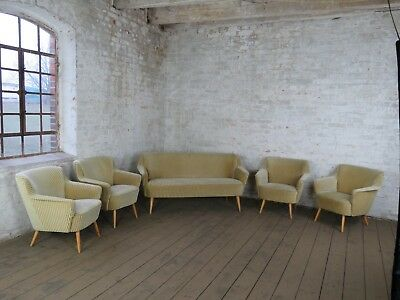 Mid Century Set Sofa + 4 Sessel 60Er Jahre Daybed Design 60S Chair Vintage