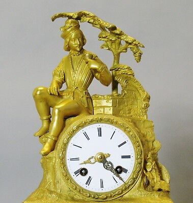 Superb FRENCH EMPIRE Orientalist Gilt Bronze Clock w/ Persian  c. 1840  antique