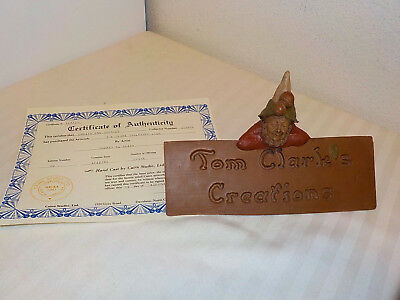 "Tom Clark Gnome Figurine Sculpture Sign ""tom Clark's Creations"" 1982 W/coa"