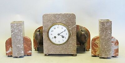 Unique ART DECO MARBLE & Bronze Clock Garniture w/ Turkeys  c. 1930  antique