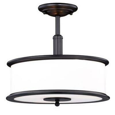 Vaxcel International 3 Light Carlisle Noble Bronze with Opal Semi-Flush Mount