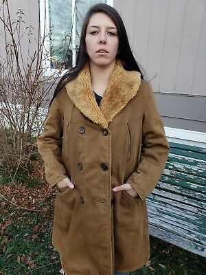 Vtg 30s 40s Double Breasted Sherpa Lined Barnstormer Coat Shawl Collar Jacket