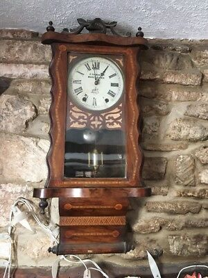 19c Antique American 8 Day Wall Clock Parquetry Inlaid Case H Samuel Manchester