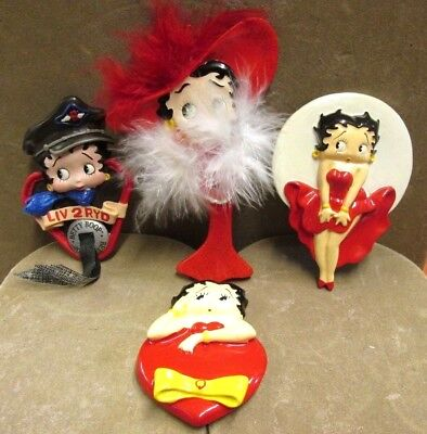 Betty Boop Lot Of 4 Magnets Hearts Rider Be Mine Marilyn Pose