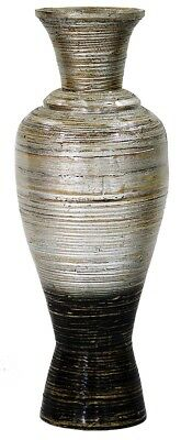 Heather Ann Creations Sienna 29 in. Spun Bamboo Floor Vase - Silver & Black