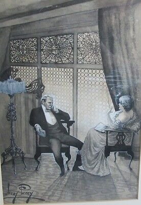 Antique ENGLISH Victorian Watercolor Painting   MOWBRAY PERCY   Couple Relaxing