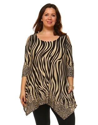 White Mark Womens Antonia Cut-Out Shoulder Tunic Top Black & Brown - 2XL