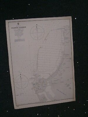 Vintage Admiralty Chart 914 CEYLON - COLOMBO HARBOUR 1885 edition