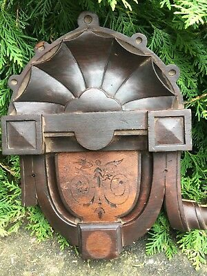 LARGE Antique Carved Victorian Eastlake Style Window Walnut Pediment Corbel