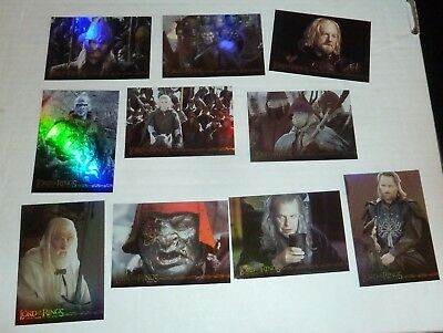 2003 Topps Lord Of The Rings Prismatic Foil Set Of 10 The Return Of The King