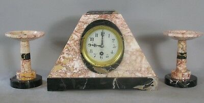 Fine FRENCH ART DECO Marble Garniture Clock Set  c. 1930  Excellent Condition