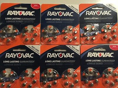 Rayovac Size 13 Hearing Aid Batteries 72 Batteries Exp 2020 or Better NEW