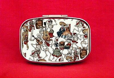 Day Of The Dead Skeleton Party Print Stash Trinket Metal Pill Mint Box Case