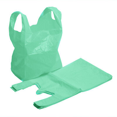 Strong Green Supermarket Style Plastic Vest Shopping Carrier Bags
