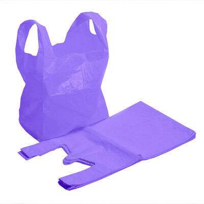 Strong Purple Supermarket Style Plastic Vest Shopping Carrier Bags
