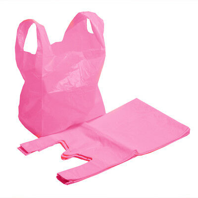 Strong Bright Pink / Fuscia Supermarket Style Plastic Vest Carrier Bags