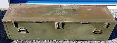 """WWII 1942 US ARMY CARPENTER EQUIPMENT SQUAD ENGINEER CHEST 65"""" wood toolbox old"""