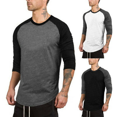 UK New Men's Gym Sports Slim Fit Casual 3/4 Sleeve Muscle Tee Top T-shirt Blouse