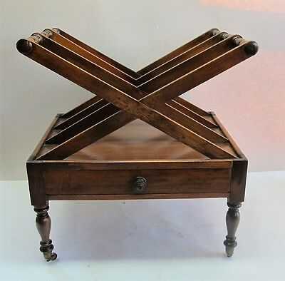 Rare Original ENGLISH REGENCY X-Form Mahogany Canterbury  c. 1820  antique +