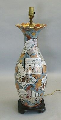 "Antique 19th C. IMPERIAL SATSUMA 21"" Tall Vase as Lamp  Japanese Art Pottery"