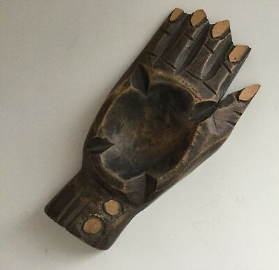 Vintage Wood Carved Hand Shaped Ashtray African Art Human Hand Carving