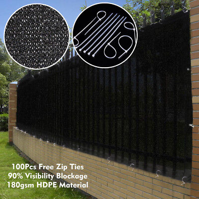 6'x50' Black Fence Screen 90% Privacy Fencing Mesh Windscreen Cover Flat Garden