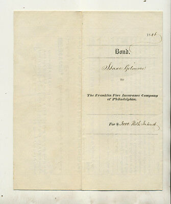 1846 Policy Franklin Fire Insurance Company Of Philadelphia Spring Garden Dist