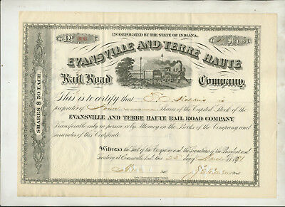 1891 Evansville And Terre Haute Rail Road Company Indiana Stock Certificate